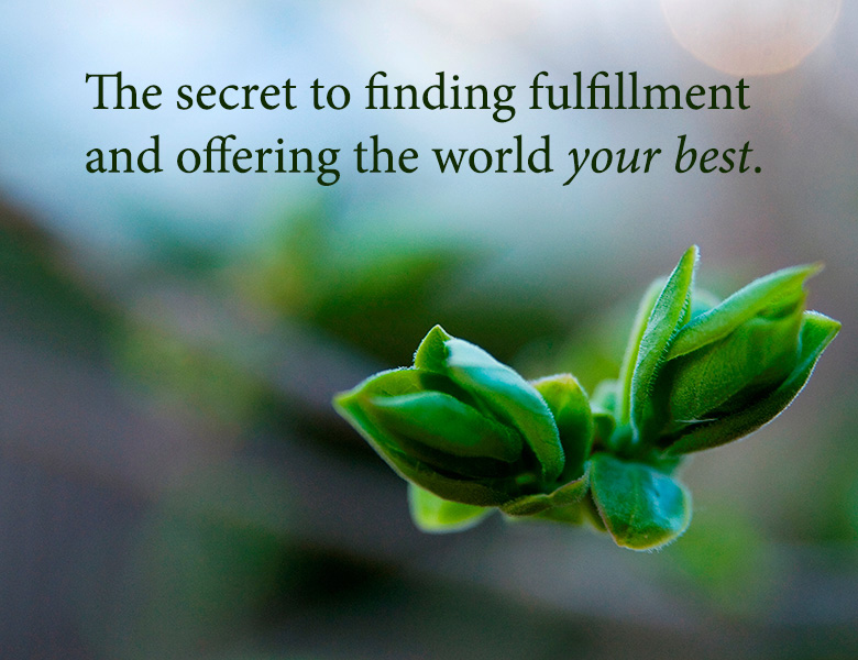 The secret to finding fulfillment and offering the world your best.