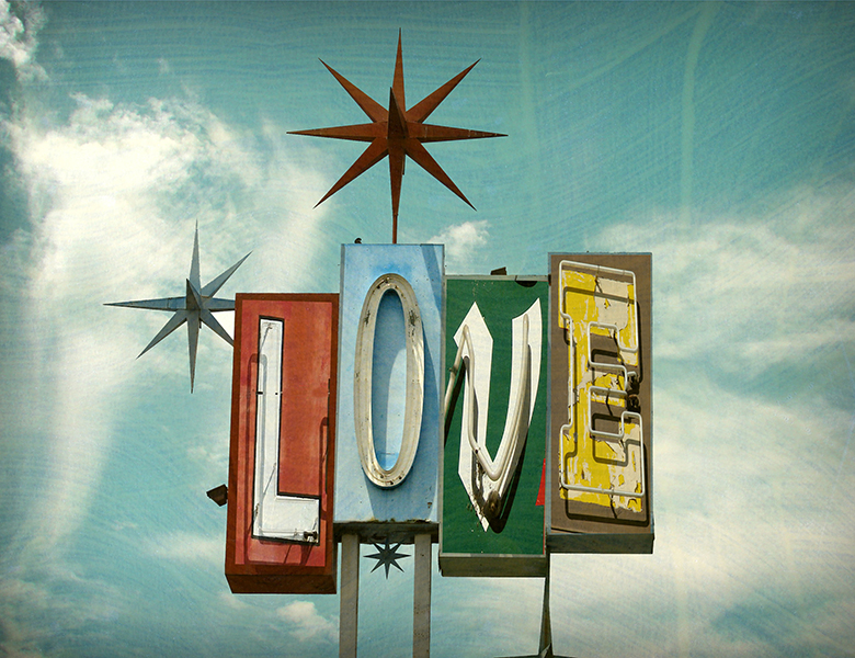 "The genius of non-judgement. Retro ""Love"" sign."