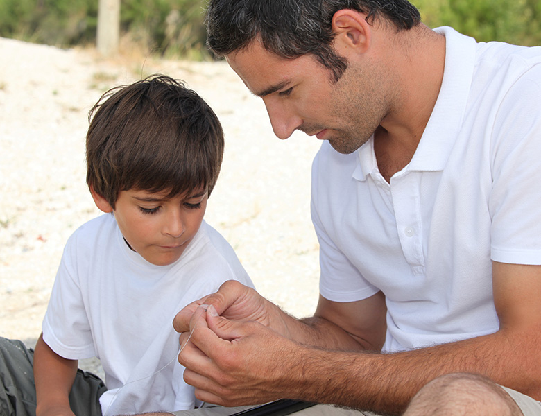 Father and son spending time together. Mindful parenting