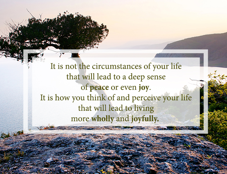 Quote from Robert Staub: it is not the circumstances of your life that will lead to a deep sense of peace or even joy. It is how you think of and perceive your life that will lead to living more wholly and joyfully.