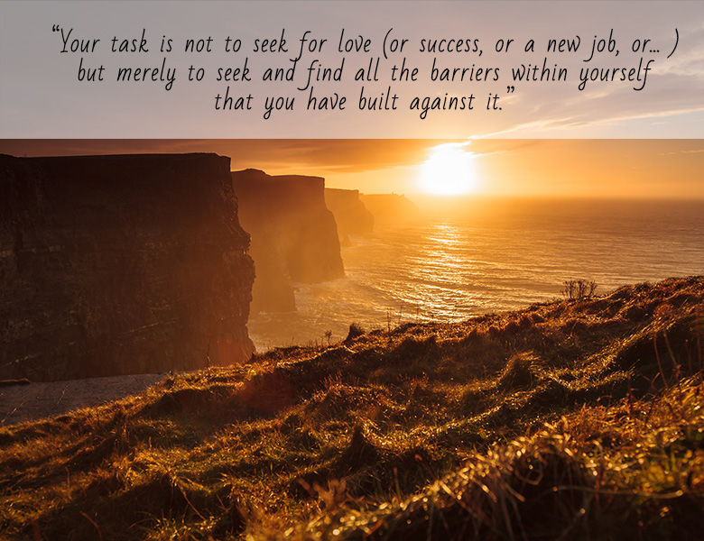"""Your task is not to seek for love (or success, or a new job, or….), but merely to seek and find all the barriers within yourself that you have built against it."""